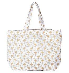 Rockflowerpaper Flamingo Gold Jute Bag