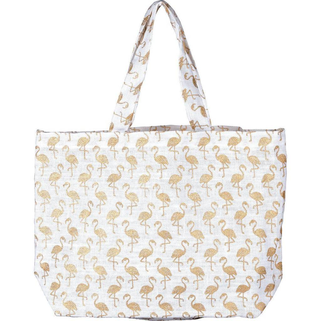 Rockflowerpaper Flamingo Gold Jute Bag
