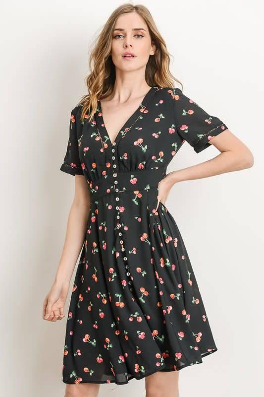 Cherry A-Line Dress