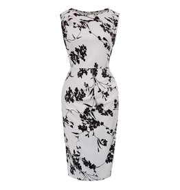 Frock It Breanne Wiggle Dress in White/Black Floral