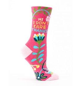 Blue Q Crew Socks-Hi I Don't Care