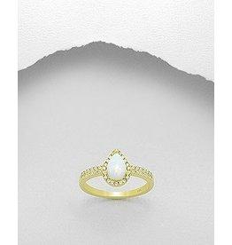 glimmer Gold Ring- Opal W/CZ