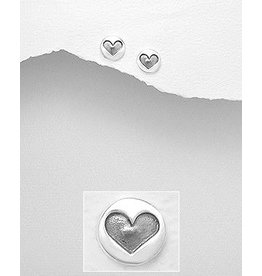 Sterling Studs- Circle W/Hearts