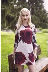 Papillon Angela- Rose Print Sweater Dress