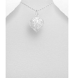 Sterling Sterling Silver- Filigree Heart Necklace