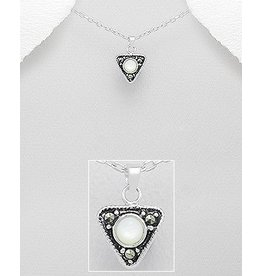Sterling Necklace- Marcasite Triangle