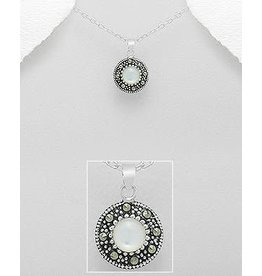 Sterling Necklace- Marcasite Circle