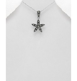 Sterling Necklace- Marcasite Flower