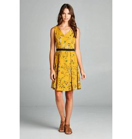 Lasoul Malorie Floral Dress in Mustard