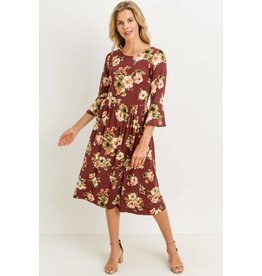 Leigh Floral Dress in Burgundy
