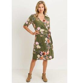 Kalie Floral Dress in Olive