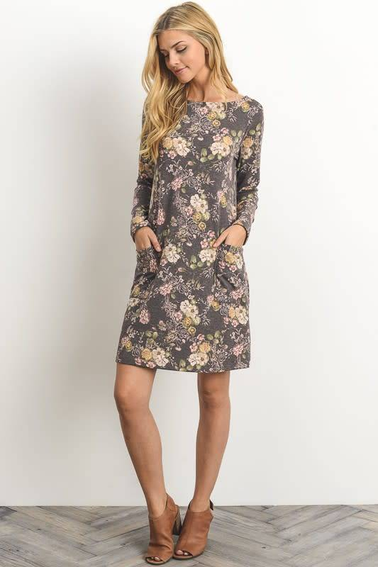 Kathy Floral Dress in Navy