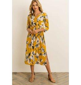 Alie Floral Dress in Mustard