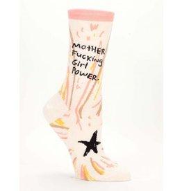 Blue Q Crew Socks-Mother F*cking Girl Power