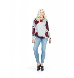 Papillon Red Floral Print Sweatshirt