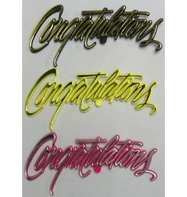 PFEIL & HOLING CONGRTULATIONS FANCY SCRIPT BLK, YELL, PINK 5'' BOX 72 CT
