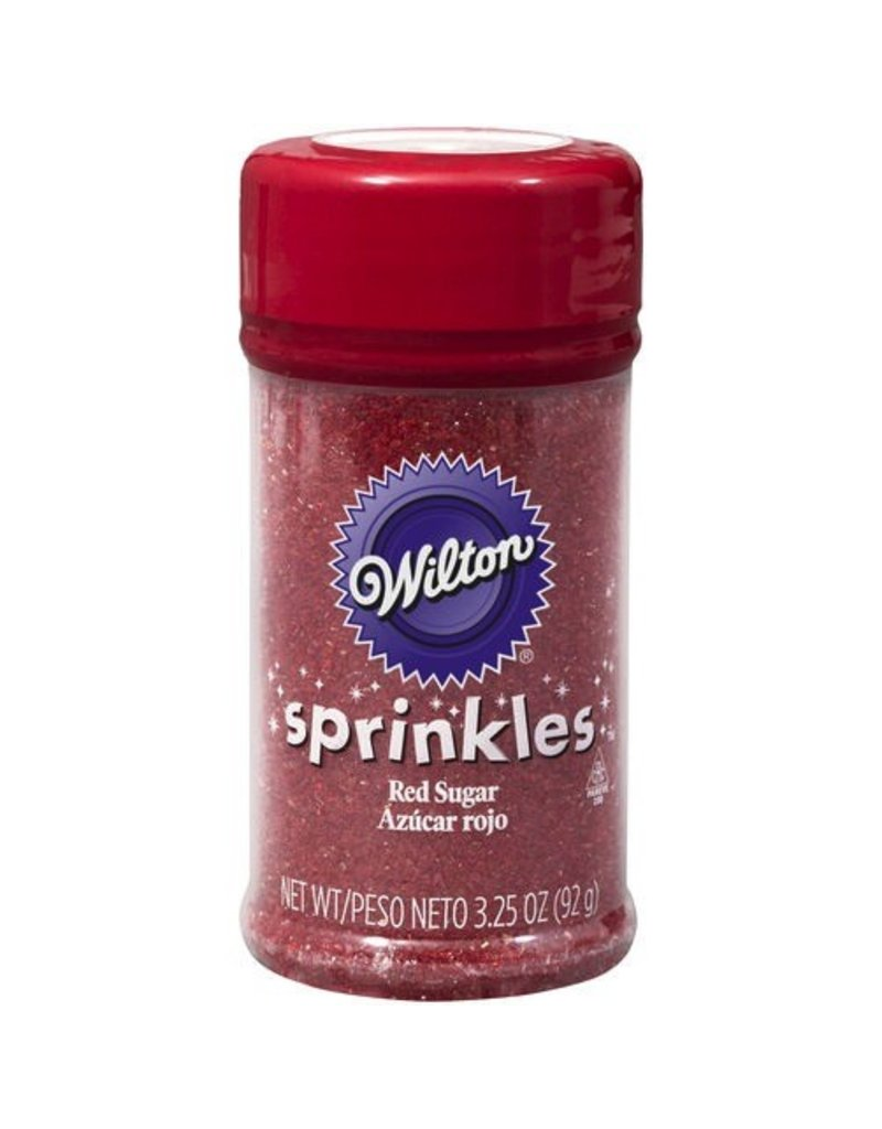 WILTON ENTERPRISES RED SPRINKLE SUGAR 3.25 OZ EA