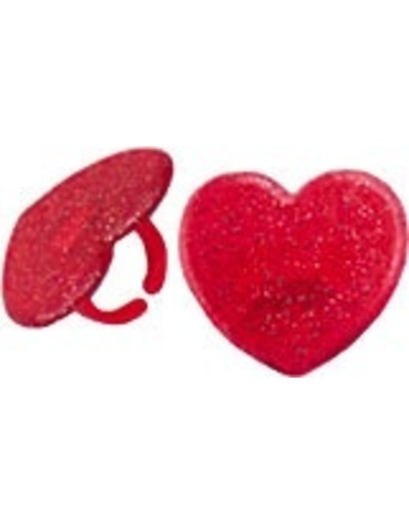 PFEIL & HOLING RED GLITTER HEART RINGS BOX 72 CT