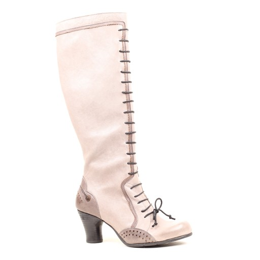 Gold Button Front Detailed Lace up Boot
