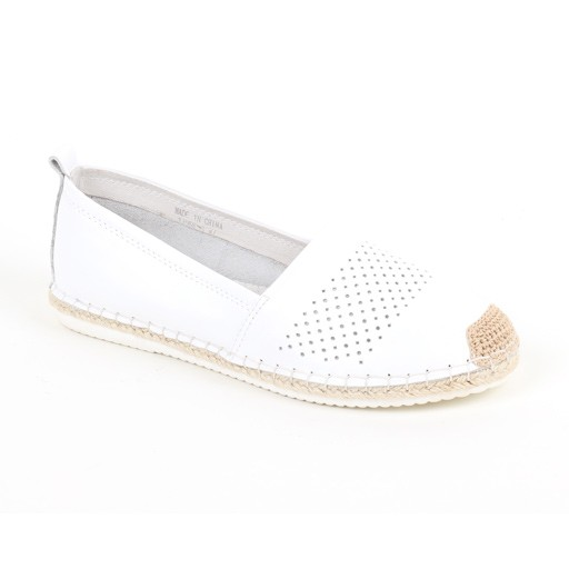 Esh Leather Flat with White Bottom