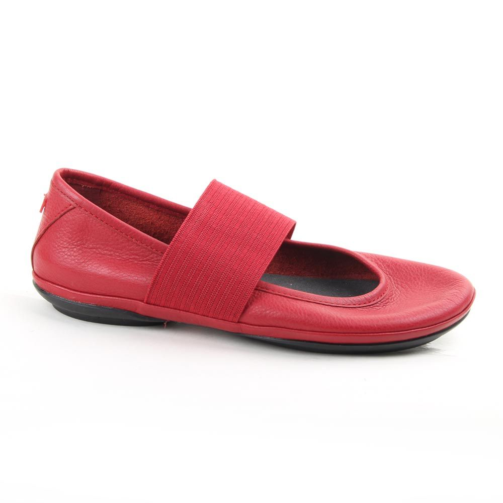 Camper Leather Flat with  a Width Elastic Band