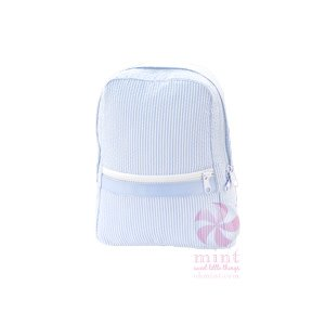 Mint Baby Blue Seersucker Backpack