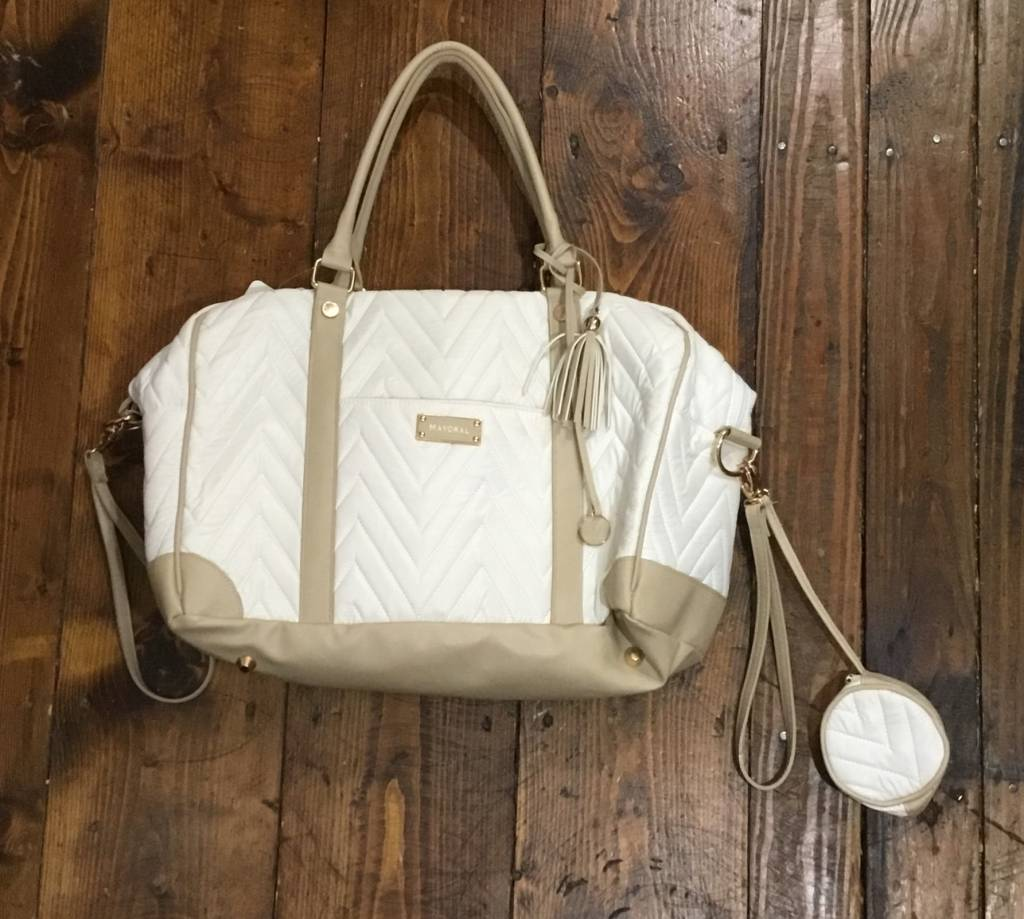 Mayoral Diaper tote (3 pieces) IVORY QUILTED BABY CHANGING BAG