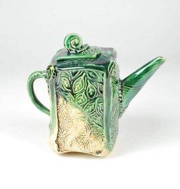 B. Anahita King Teapot, Garden Whimsy & Green, Turq Crackle with Patina
