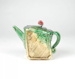 B. Anahita King Teapot, Rustic Leaves & Green with Patina, Rectangular