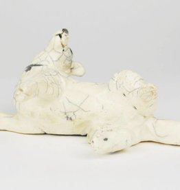 Nina Ward White Raku Dog, Rolling Back with Crackle