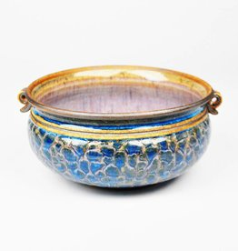 Emily Lee Blue Bowl with Bubble Carving