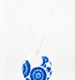 Heather C. Morrow Round Cobalt Oxide Transfer (Flowers) Pendant