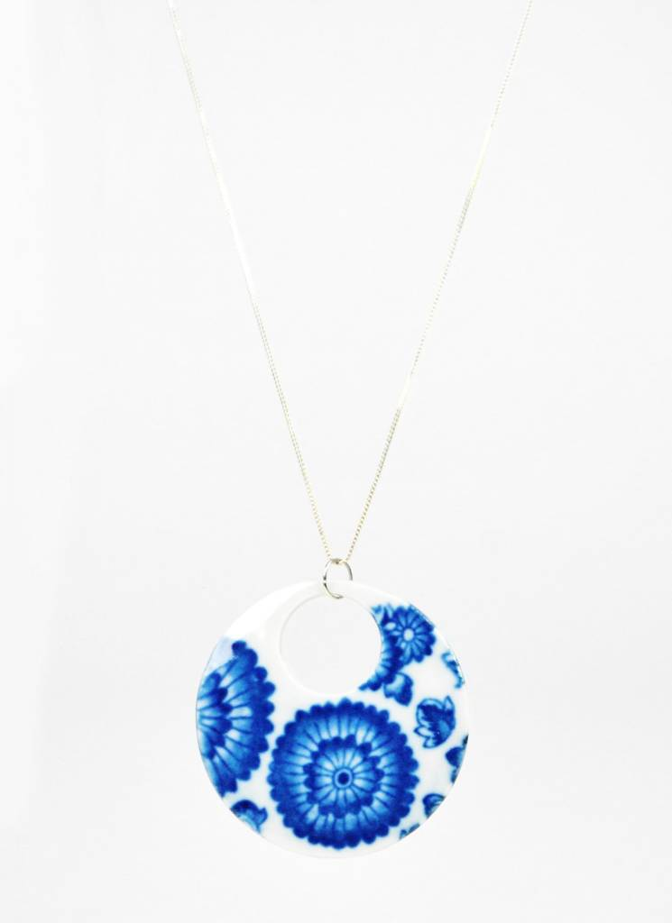 Heather C. Morrow Round Cobalt Oxide Transfer (Flowers) Pendant