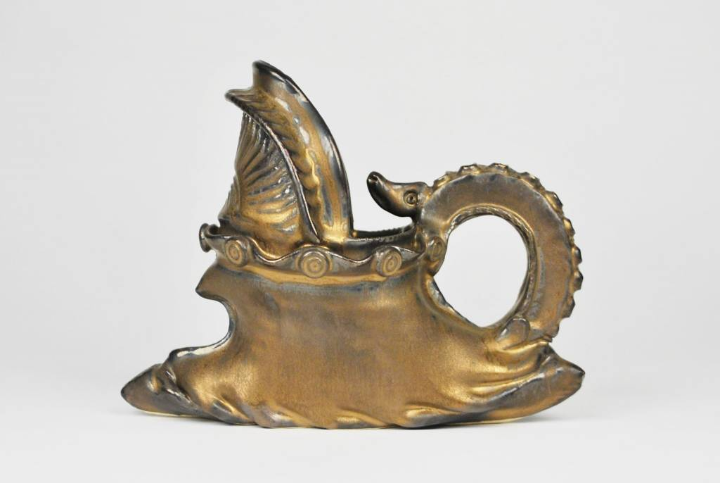 Stephen L. Horn Bronze Distorted Pitcher with Dragon/Snake Accent