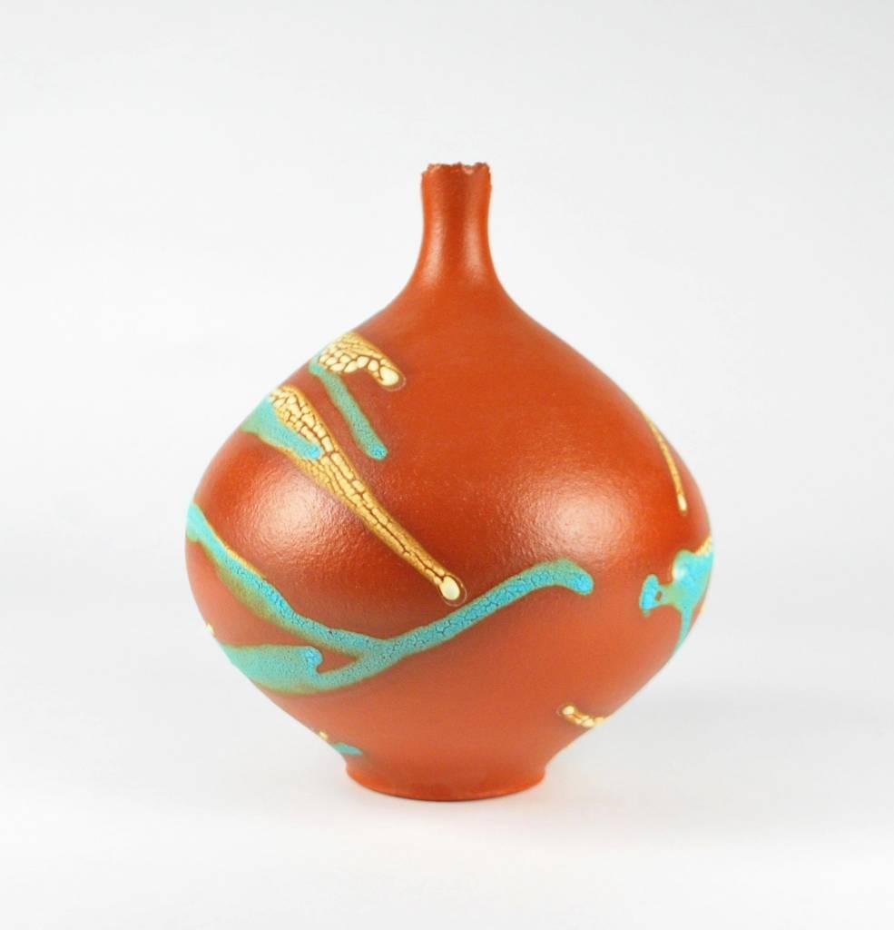 Mary Fox Bottle Vase, Orange Terra Sigillata, Blue & White Crawl