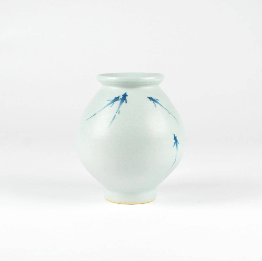 Lee Hyang-Gu White Porcelain Jar, Blue Fish