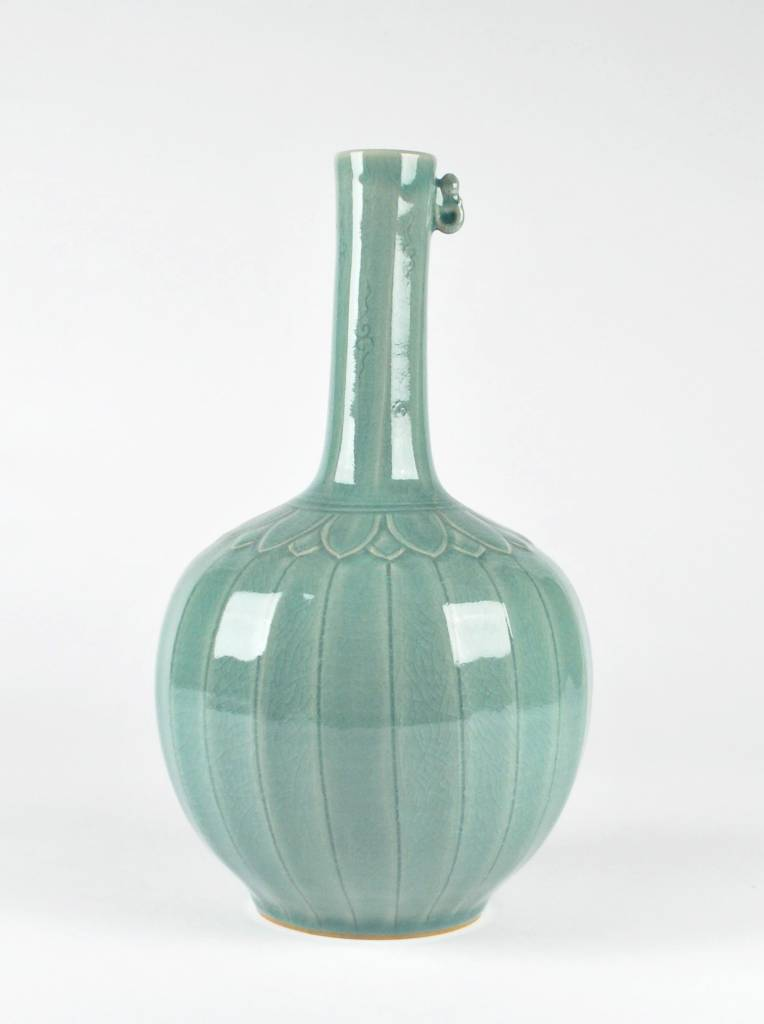 Choi In-Gyu Celadon Bottle, Linear Design