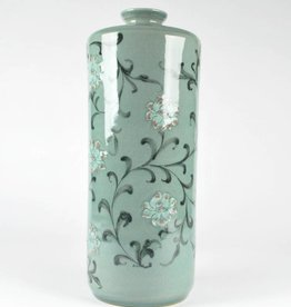 Choi In-Gyu Celadon Cylindrical Bottle, Peony