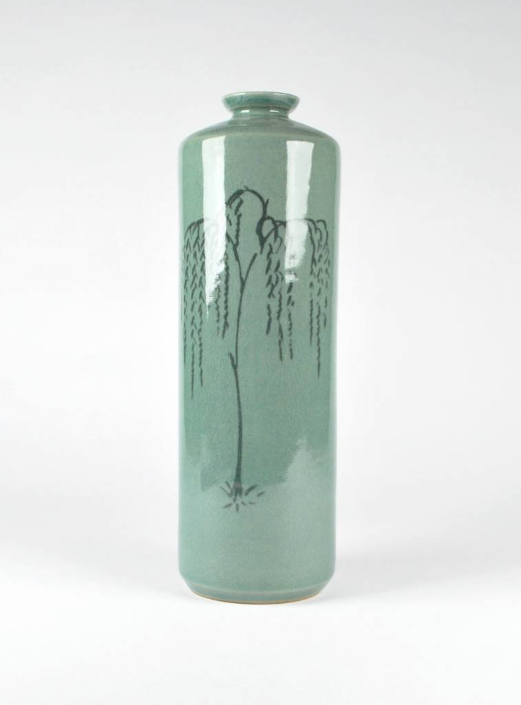 Choi In-Gyu Celadon Cylindrical Bottle