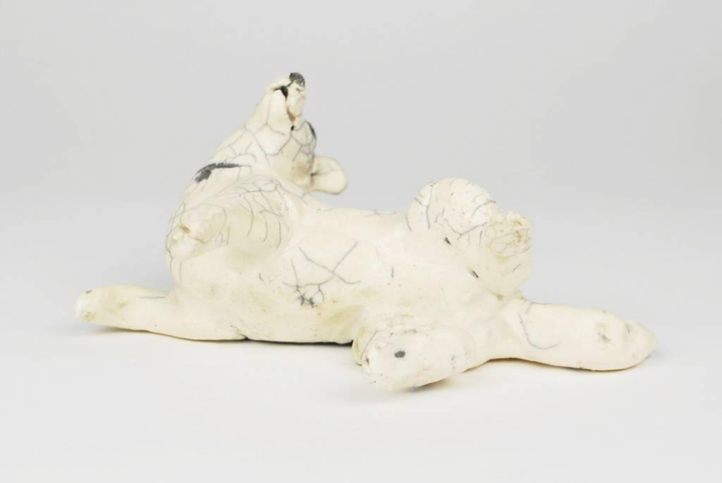 Nina Ward White Raku Dog, Rolling Back with Crackle