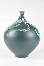 Mary Fox Bottle Vase, Blue Terra Sigillata, White Crawl Glaze