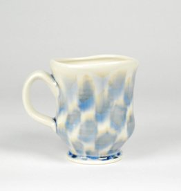 Sean O'Connell Mug, White Crosshatch Runny Blue