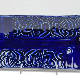 Lynn Wood Large Blue Rectangular Tray