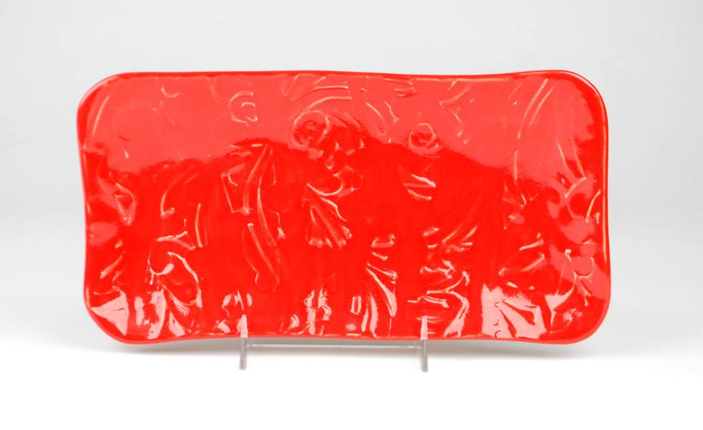 Lynn Wood Large Red Rectangular Tray