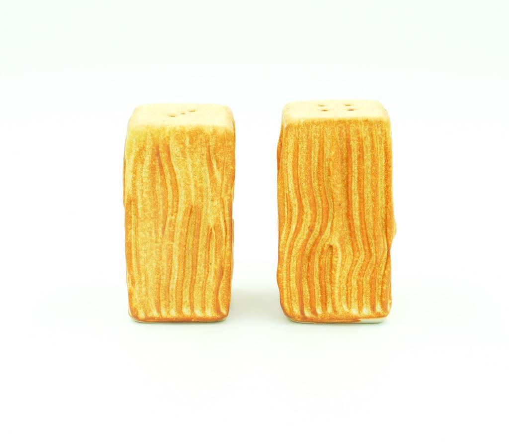 Ben Rigney Ben Rigney - Medium Rectangle Yellow Salt & Pepper Shakers with Lines