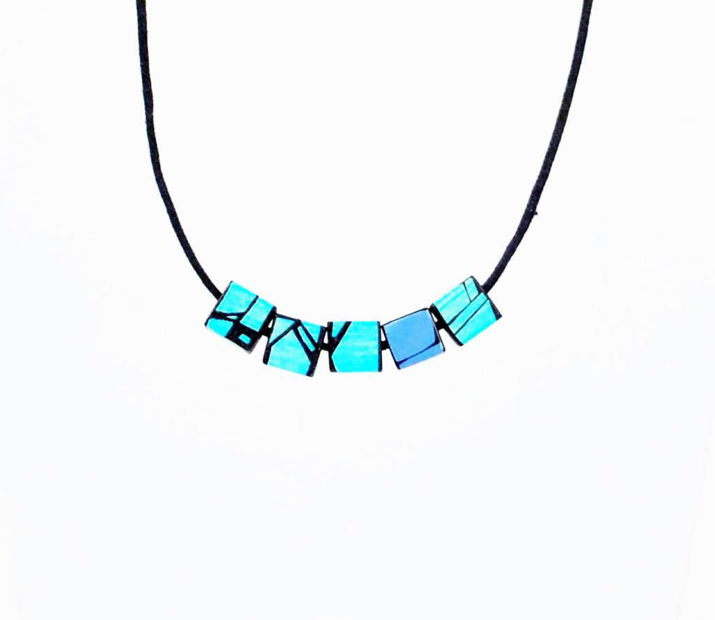 Hue+Wood Jewelry Blue Accent Square Necklace