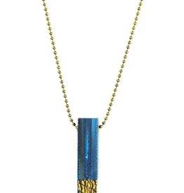 Eva Andre Design Blue Bar Long Chain Crackle Necklace