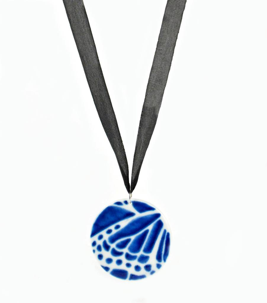 Heather C. Morrow Cobalt Slip Butterfly Wing Pendant