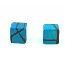 Hue+Wood Jewelry Dark Blue Wood Stud Earrings