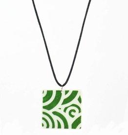 Heather C. Morrow Green Oxide Slip Swirl Pattern Pendant